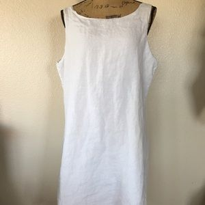 Eileen Fisher White Irish Linen Shift Dress